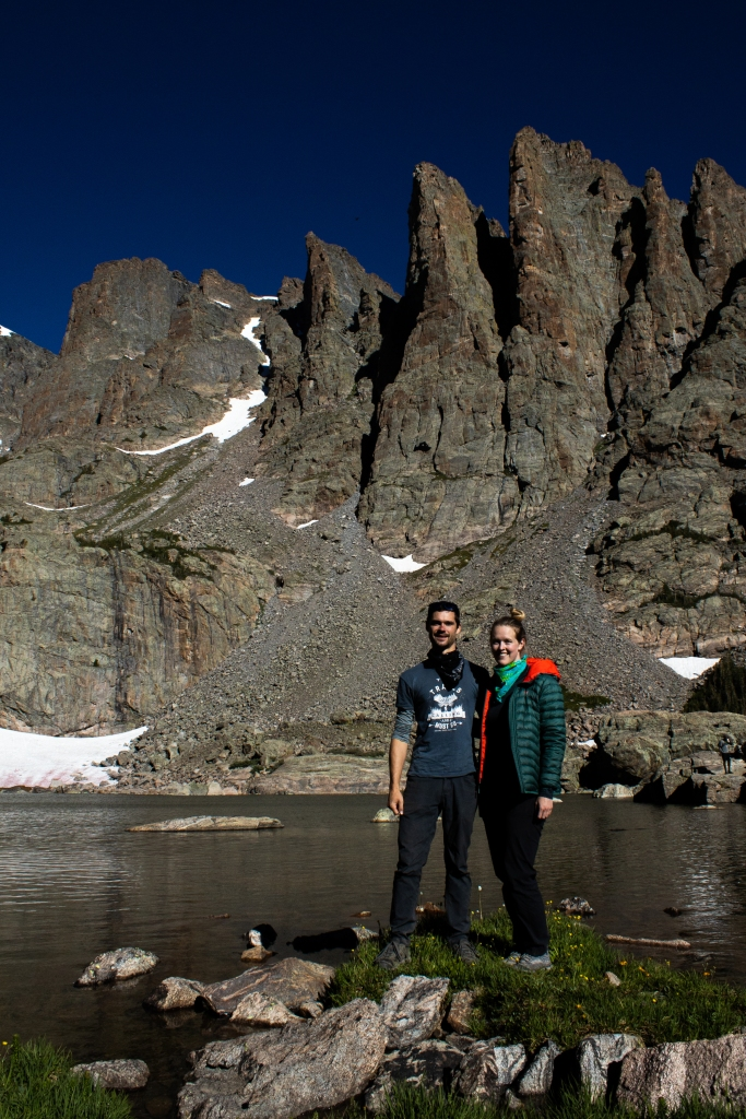 Sky Pond with Sharkdtooth Peak at Rocky Mountain National Park