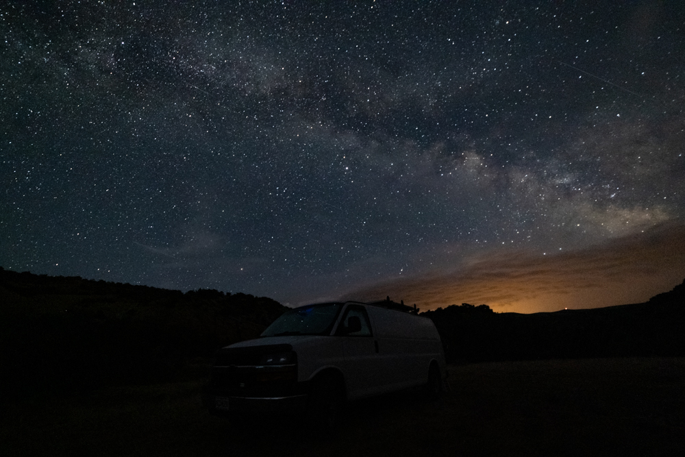 Van in Dinosaur National Monument with Stars