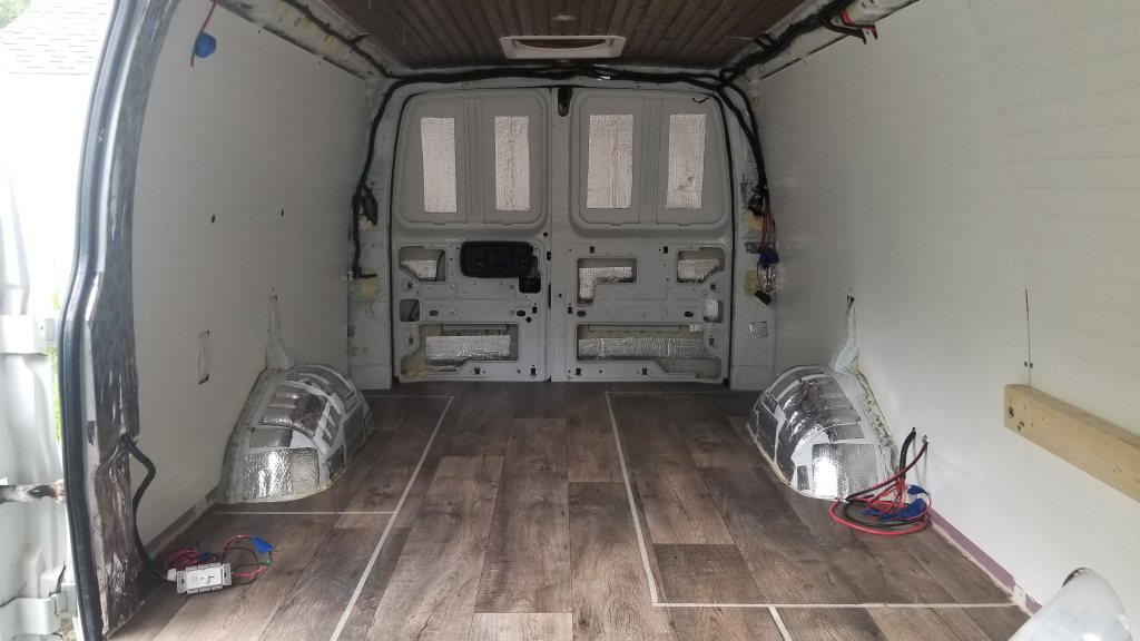 Flooring, ceiling, and walls installed in a van build