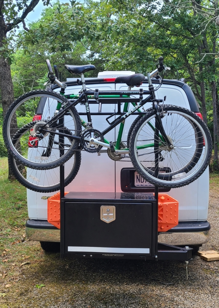 Custom Swinging Storage Box and Bike Mount for Vanlife